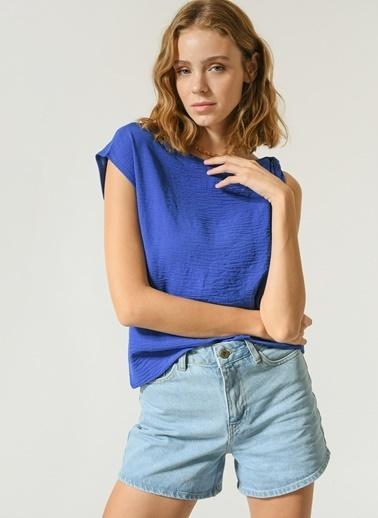 NGSTYLE Kadın Omuz Düğüm Detaylı Bluz NGKSS21BL0026 Saks